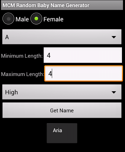 MCM Random Baby Name Generator for Android